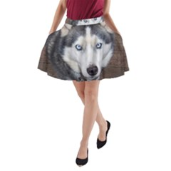 Siberian Husky Blue Eyed A-Line Pocket Skirt