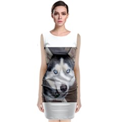 Siberian Husky Blue Eyed Classic Sleeveless Midi Dress