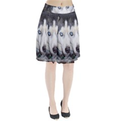 Siberian Husky Blue Eyed Pleated Skirt