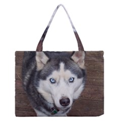 Siberian Husky Blue Eyed Medium Zipper Tote Bag