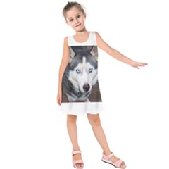 Siberian Husky Blue Eyed Kids  Sleeveless Dress