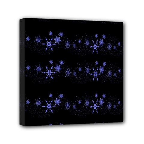 Xmas elegant blue snowflakes Mini Canvas 6  x 6