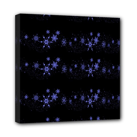Xmas elegant blue snowflakes Mini Canvas 8  x 8