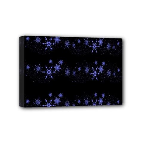 Xmas elegant blue snowflakes Mini Canvas 6  x 4