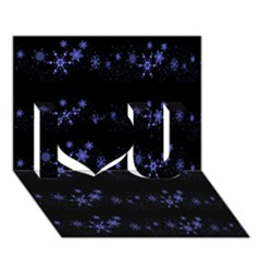 Xmas elegant blue snowflakes I Love You 3D Greeting Card (7x5)