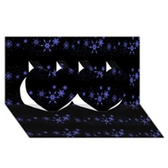 Xmas elegant blue snowflakes Twin Hearts 3D Greeting Card (8x4)