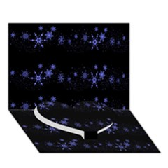 Xmas elegant blue snowflakes Heart Bottom 3D Greeting Card (7x5)