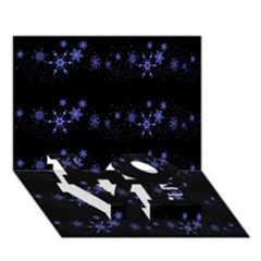 Xmas elegant blue snowflakes LOVE Bottom 3D Greeting Card (7x5)