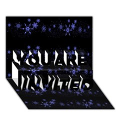 Xmas elegant blue snowflakes YOU ARE INVITED 3D Greeting Card (7x5)