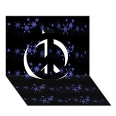Xmas elegant blue snowflakes Peace Sign 3D Greeting Card (7x5)