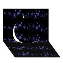 Xmas elegant blue snowflakes Circle 3D Greeting Card (7x5)