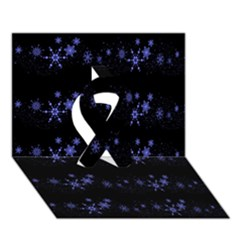 Xmas elegant blue snowflakes Ribbon 3D Greeting Card (7x5)