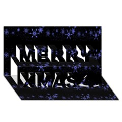 Xmas elegant blue snowflakes Merry Xmas 3D Greeting Card (8x4)