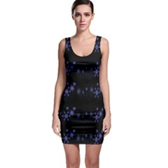 Xmas elegant blue snowflakes Sleeveless Bodycon Dress