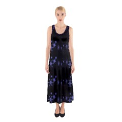 Xmas elegant blue snowflakes Sleeveless Maxi Dress