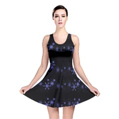 Xmas elegant blue snowflakes Reversible Skater Dress