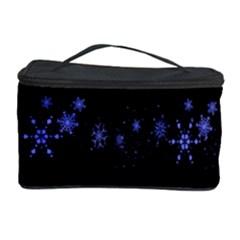 Xmas elegant blue snowflakes Cosmetic Storage Case