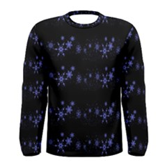Xmas elegant blue snowflakes Men s Long Sleeve Tee