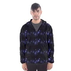 Xmas elegant blue snowflakes Hooded Wind Breaker (Men)