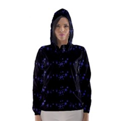 Xmas elegant blue snowflakes Hooded Wind Breaker (Women)