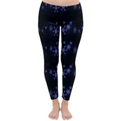 Xmas elegant blue snowflakes Classic Winter Leggings