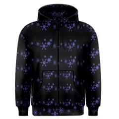 Xmas elegant blue snowflakes Men s Zipper Hoodie