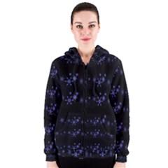 Xmas elegant blue snowflakes Women s Zipper Hoodie