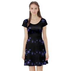 Xmas elegant blue snowflakes Short Sleeve Skater Dress