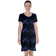 Xmas elegant blue snowflakes Short Sleeve Nightdress
