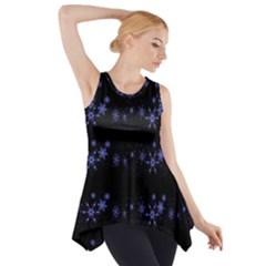 Xmas elegant blue snowflakes Side Drop Tank Tunic