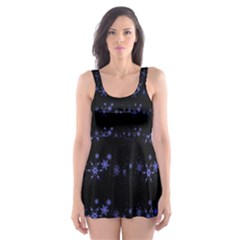 Xmas elegant blue snowflakes Skater Dress Swimsuit