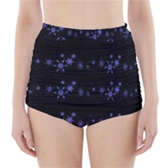 Xmas elegant blue snowflakes High-Waisted Bikini Bottoms