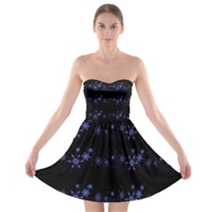 Xmas elegant blue snowflakes Strapless Bra Top Dress