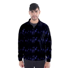 Xmas elegant blue snowflakes Wind Breaker (Men)