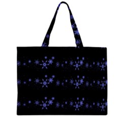 Xmas elegant blue snowflakes Zipper Large Tote Bag