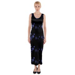 Xmas elegant blue snowflakes Fitted Maxi Dress