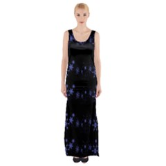 Xmas elegant blue snowflakes Maxi Thigh Split Dress