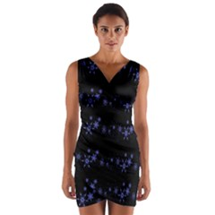 Xmas elegant blue snowflakes Wrap Front Bodycon Dress