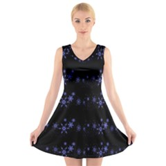Xmas elegant blue snowflakes V-Neck Sleeveless Skater Dress