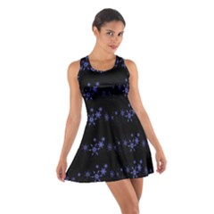 Xmas elegant blue snowflakes Cotton Racerback Dress