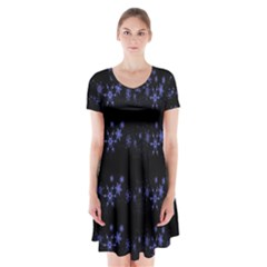 Xmas elegant blue snowflakes Short Sleeve V-neck Flare Dress