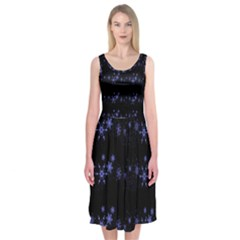 Xmas elegant blue snowflakes Midi Sleeveless Dress