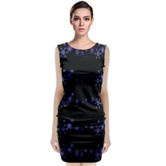 Xmas elegant blue snowflakes Classic Sleeveless Midi Dress