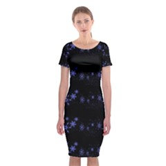 Xmas elegant blue snowflakes Classic Short Sleeve Midi Dress