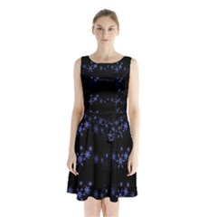 Xmas elegant blue snowflakes Sleeveless Chiffon Waist Tie Dress