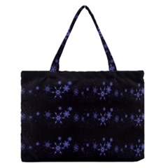 Xmas elegant blue snowflakes Medium Zipper Tote Bag