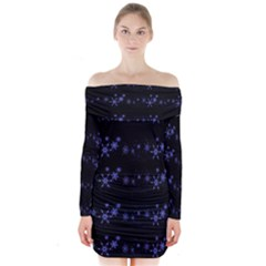 Xmas elegant blue snowflakes Long Sleeve Off Shoulder Dress