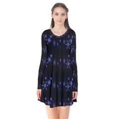 Xmas elegant blue snowflakes Flare Dress