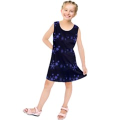 Xmas Elegant Blue Snowflakes Kids  Tunic Dress