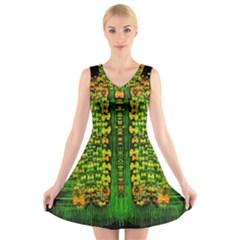 Magical Forest Of Freedom And Hope V Neck Sleeveless Skater Dress